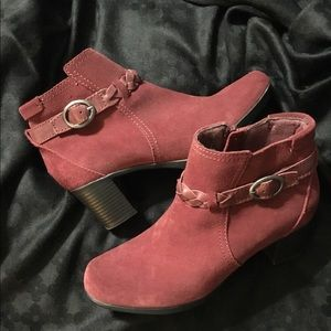 Burgundy suede ankle boots